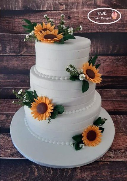 3 Tier Wedding Cake Women Sunflowers