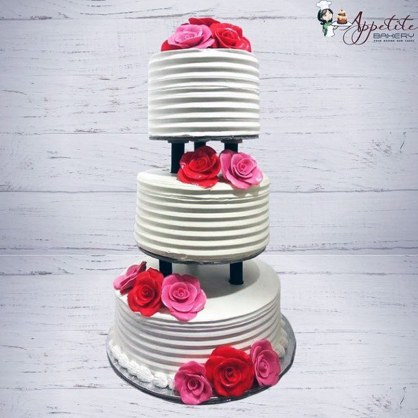 3 Tiered Wedding Cake White For Women With Pretty Roses Red Pink