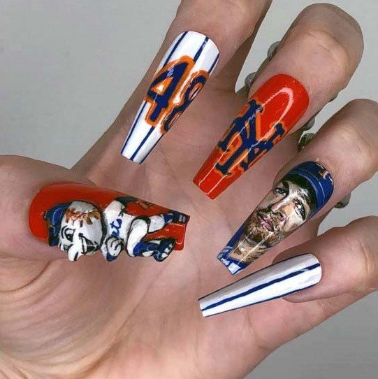 3D New York Mets Sport Nails For Women
