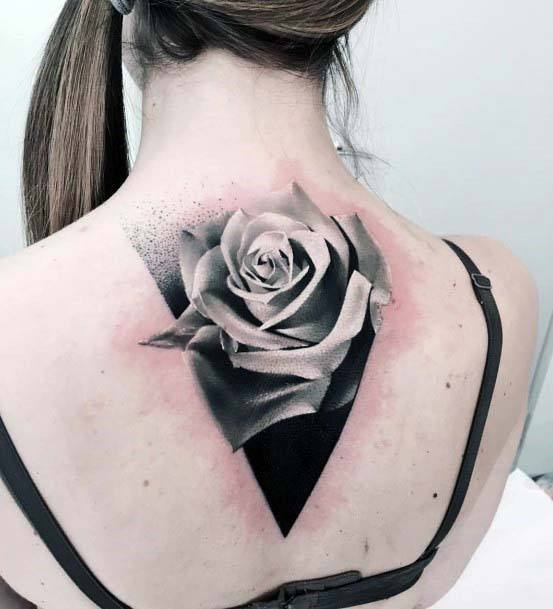 3D Realistic Grey Rose And Geometric Triangular Base Tattoo Womens Back
