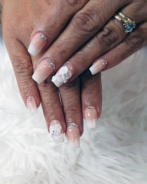 3D White Ombre Nails With Flowers For Women