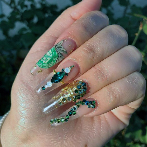 3d Art On Green And Gold Nails Women