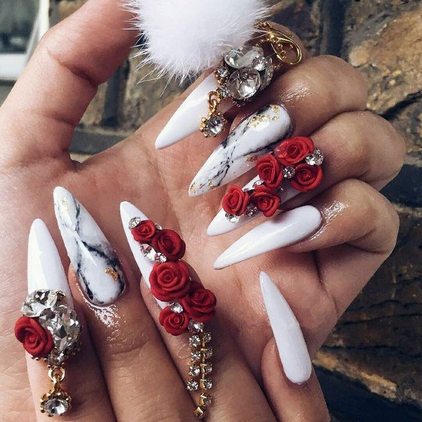 3d Red Rose Flowers Nails Women
