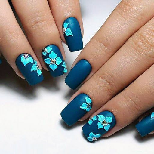 3d Turquoise Flowers On Dark Blue Nails For Women