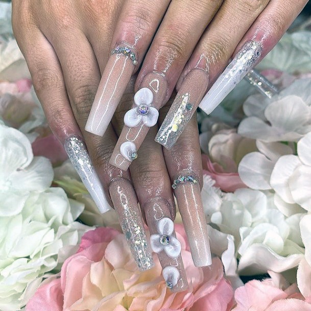 3d White Flowers And Crystals Nails Women