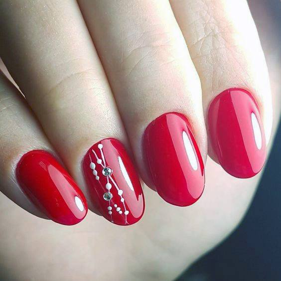 Bright Red Gel Nails With Some Details For Women