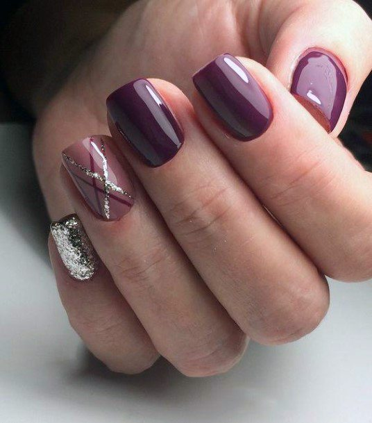 Fall Purple Nails 1