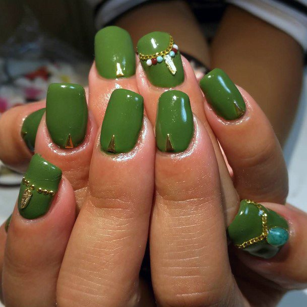 Green Color Nails With Jewellery Design