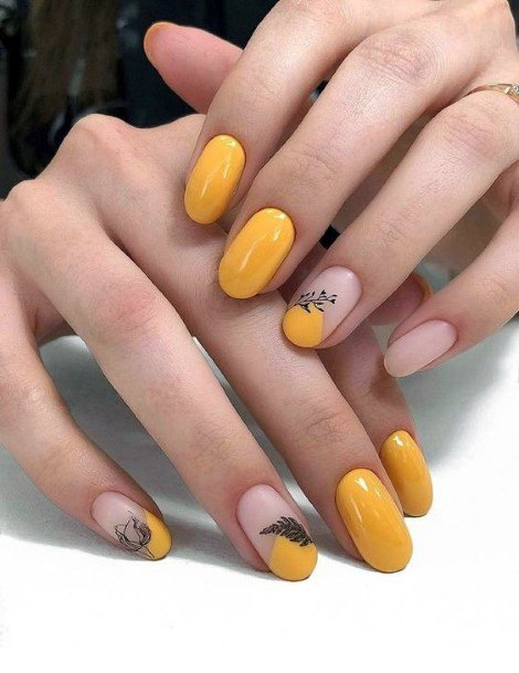 Lovely Yellow Nails And Black Details