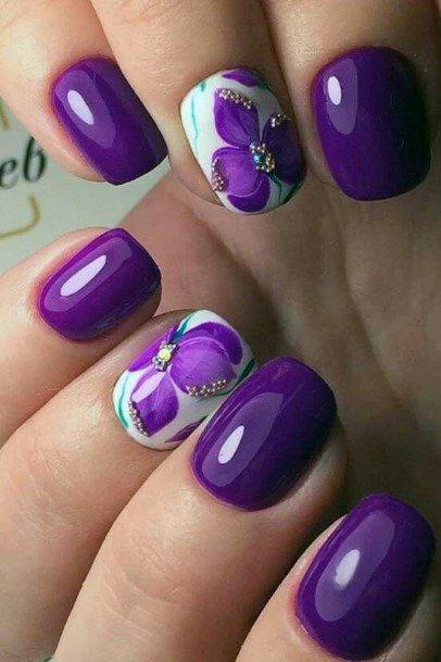 Purple Orchid Nail Design