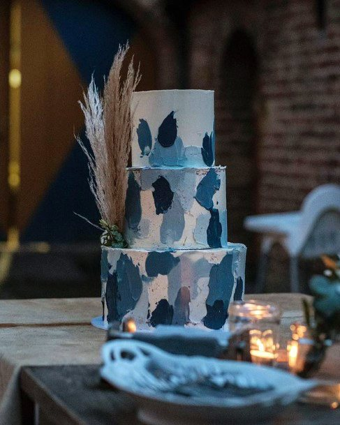 Abstract Art Wedding Blue Cakes