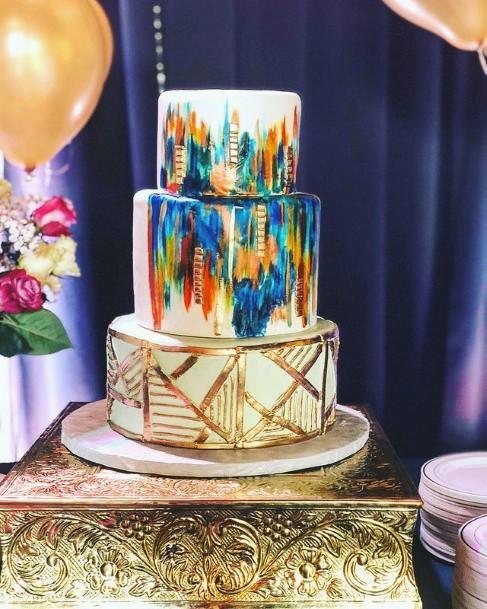 Abstract Art Womens Watercolor Cake Wedding 3 Tier