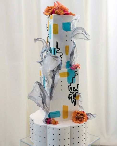 Abstract Geometric Shapes Unique Wedding Cake