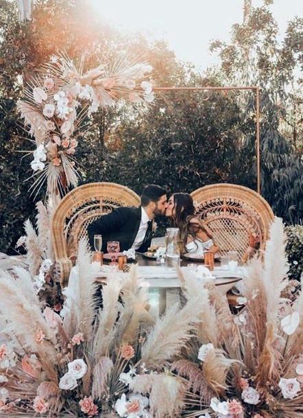 Abundant Boho Wedding Flowers Display