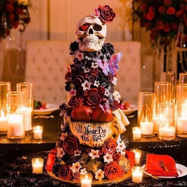 Abundant Decor Halloween Wedding Cakes