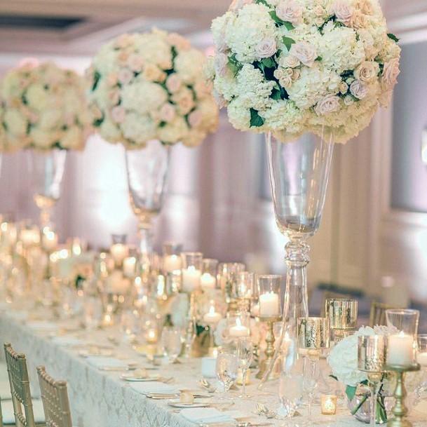 Abundant Display Of White And Blush Wedding Flowers