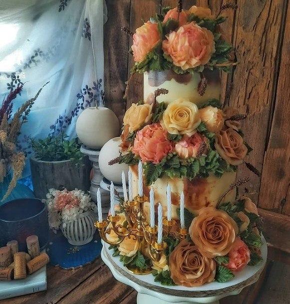 Abundant Roses Buttercream Wedding Cake