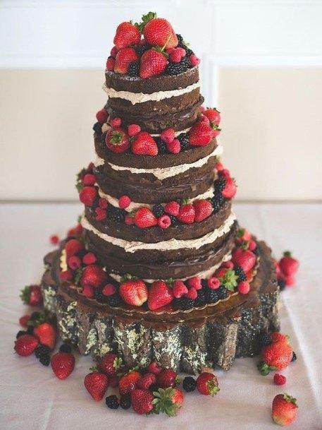 Abundant Strawberries Chocolate Wedding Cake