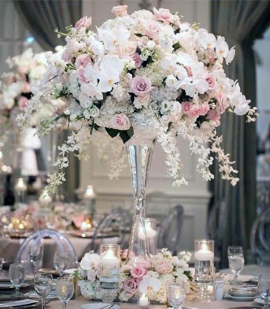 Abundant White And Blush Flowers Wedding