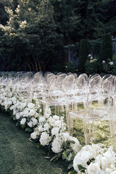 Abundant White Hydrangea Wedding Flowers Aisle