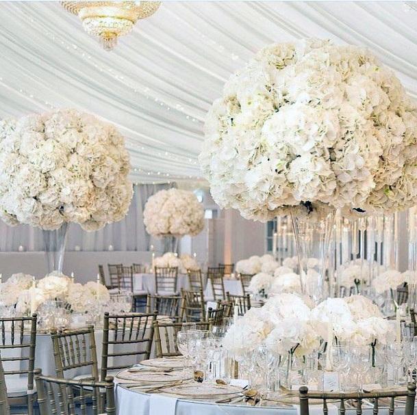 Abundant White Hydrangea Wedding Flowers