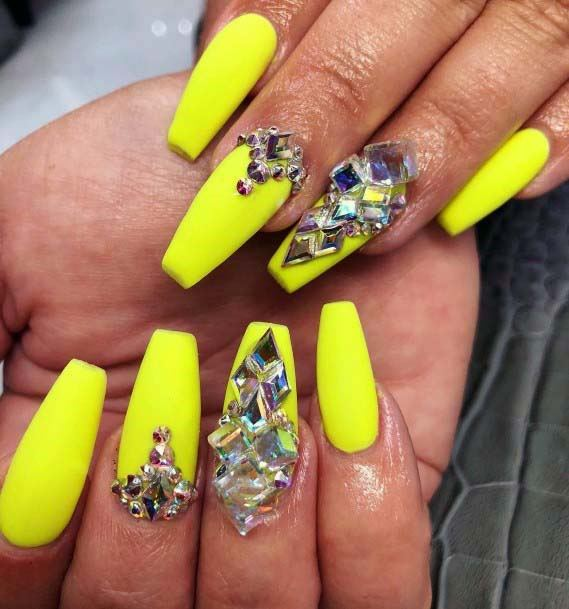 Accessories On Bright Yellow Nails For Women