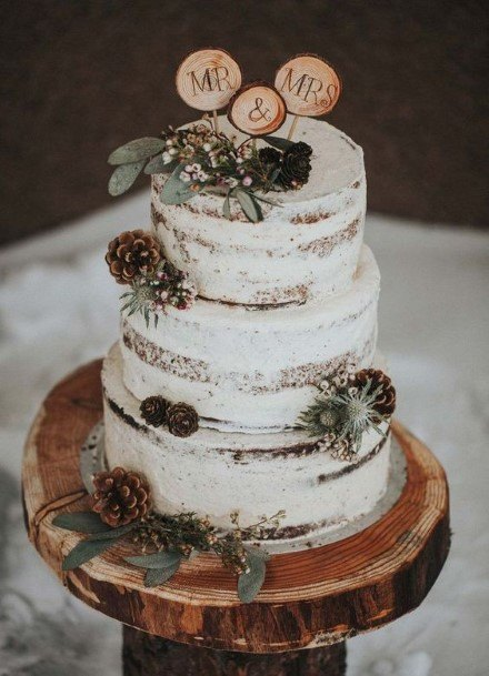 Acorns On Rustic Wedding Cake Toppers