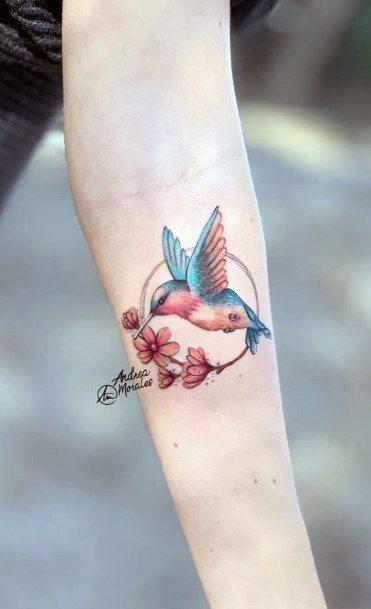 Adorable Hummingbird Tattoo For Women