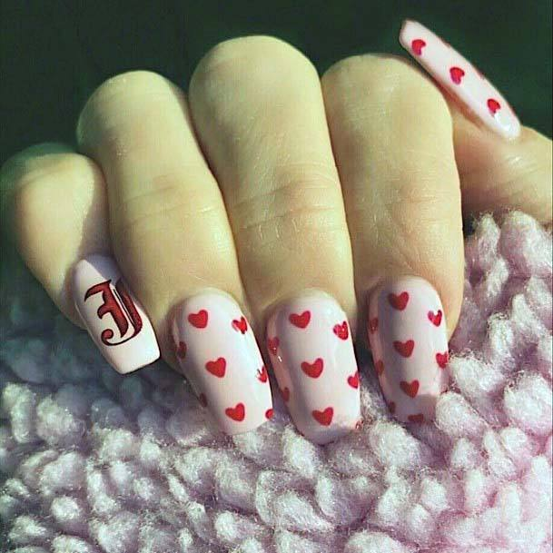 Adorable Red Hearts Pink Nails For Women