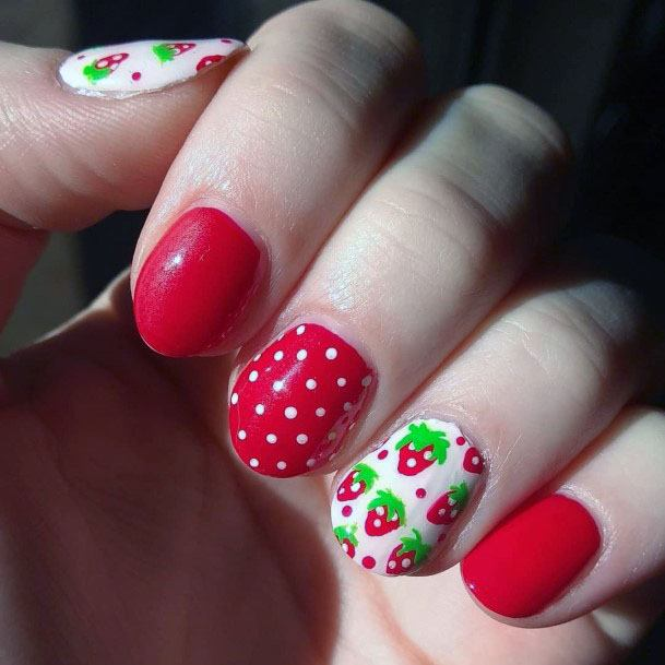 Adorable Red Pink Strawberry Polka Dot Nail Design For Girls