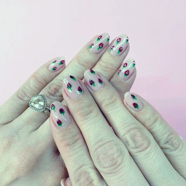 Adorable Sassy Short Pink Strawberry Nail Design For Girls