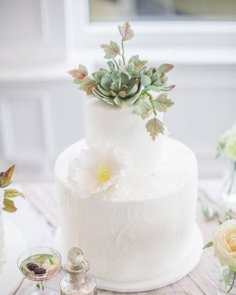 Adorable White Wedding Cake Succulent Topper