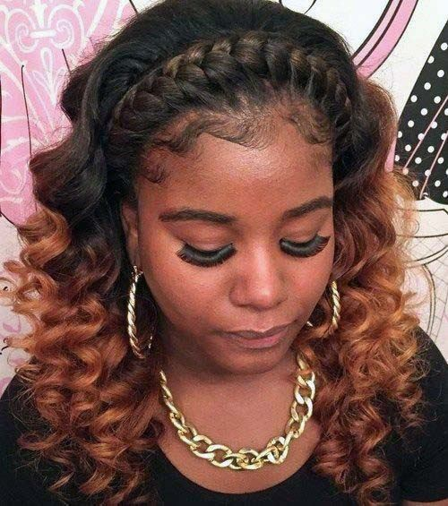 African American With Curly Hair And Tight Crown Braid