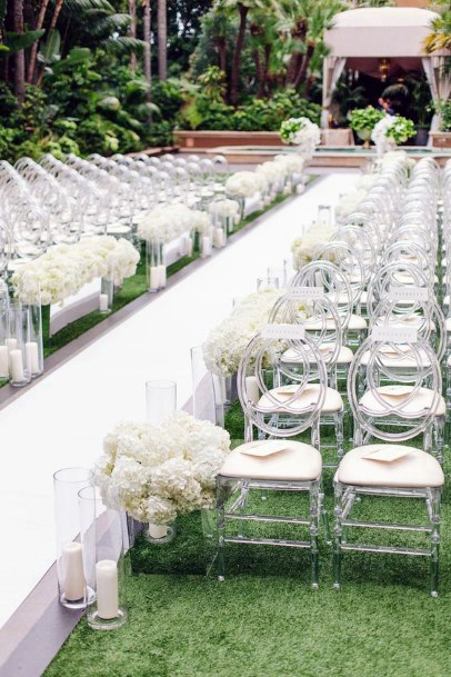 Aisle Decor With Candles And Hydrangea Wedding Flowers