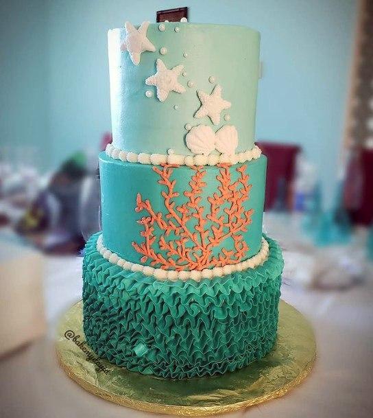 Algae And Starfish Beach Wedding Cake Women