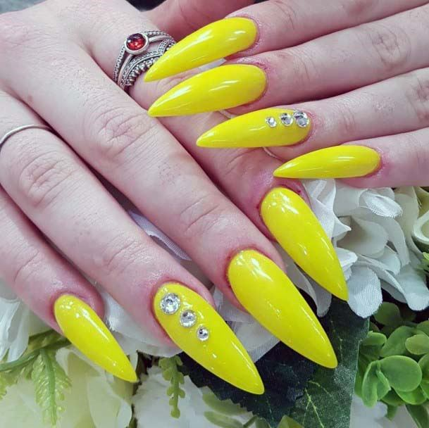 Almond Nails Bright Yellow With Crystals For Women