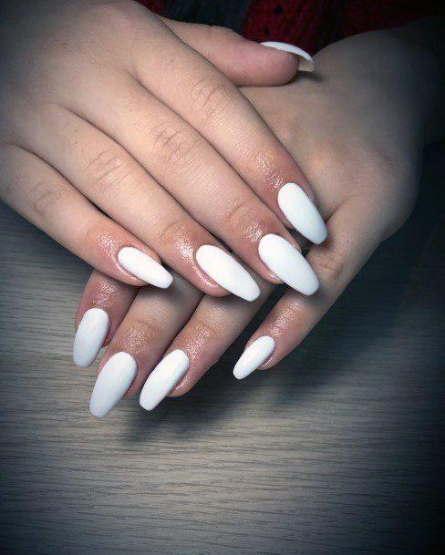 Almond Nails Pristine White Shellac Nails For Women