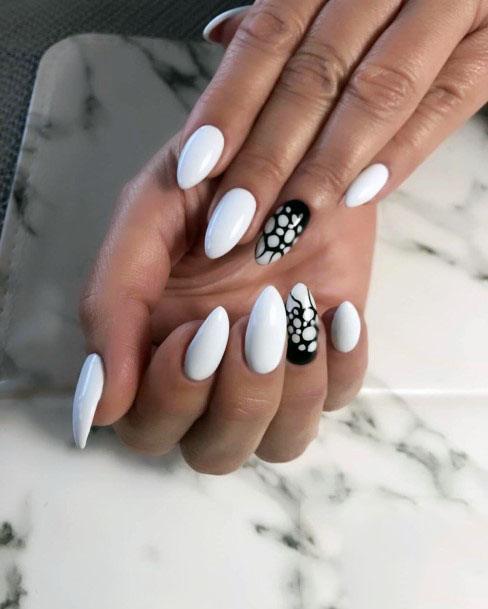 Almond Nails White Gel Nails Women