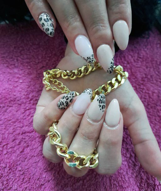 Almond Nails With Leopard Art