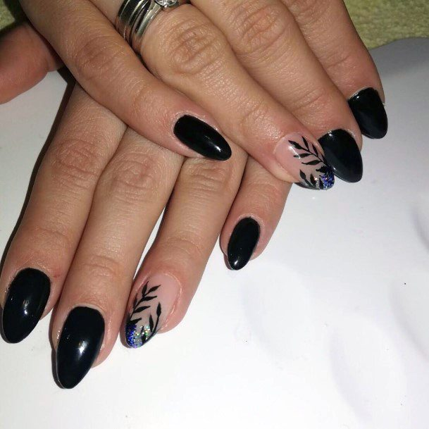 Almond Shape Nails Black With Sparkles Women