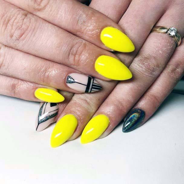 Almond Shaped Bright Yellow Nails For Women