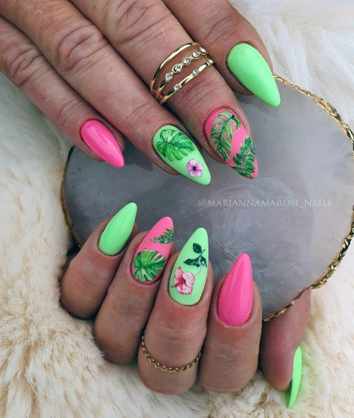 Almond Shaped Colored Nails Ideas For Women