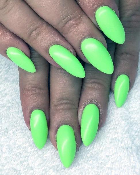 Almond Shaped Neon Green Matte Nails