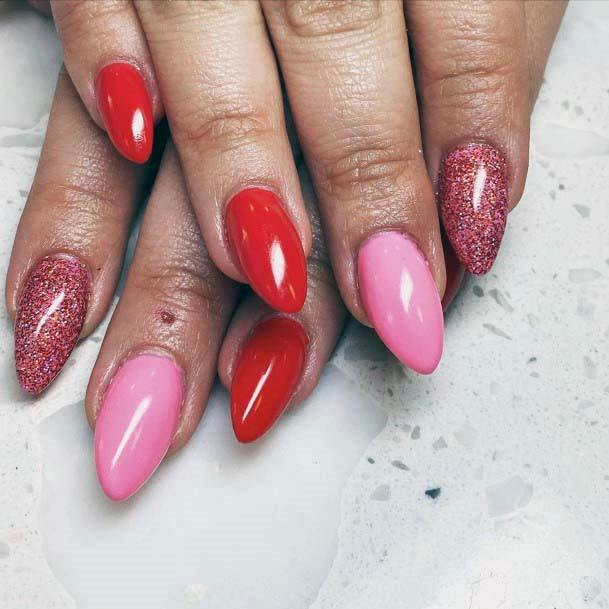 Almond Shaped Red And Pink Nails With Glitter Accent For Women