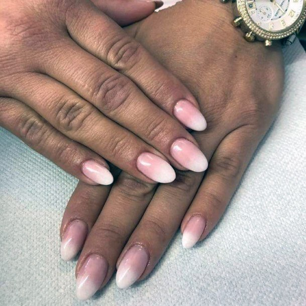 Almond Shaped White Ombre Nails Women
