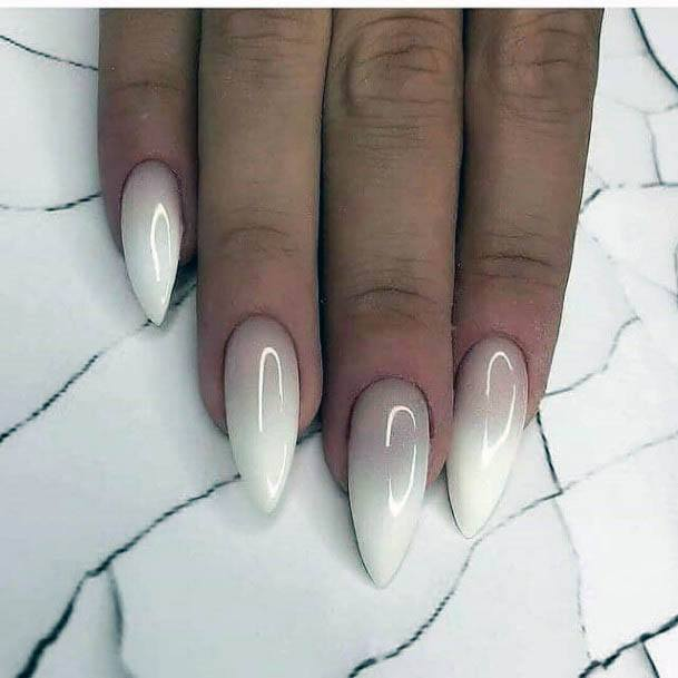 Almond White Ombre Nails Women