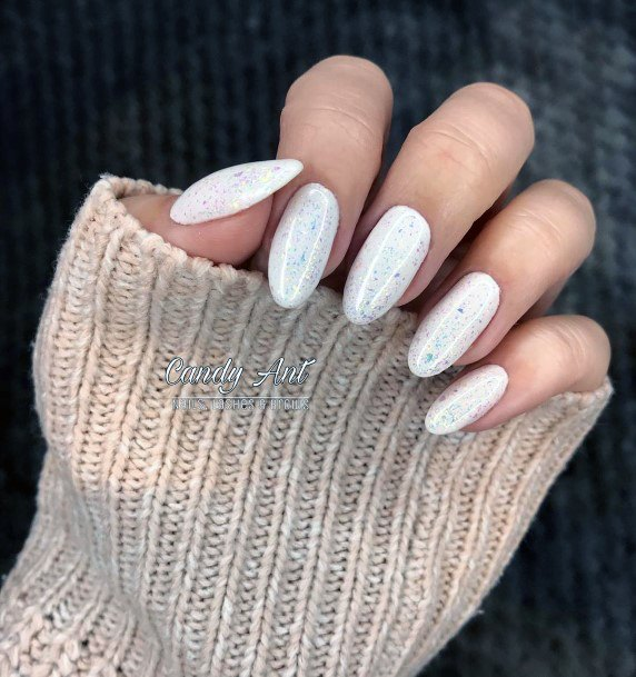 Almond White Snow Nails With Glitters For Women
