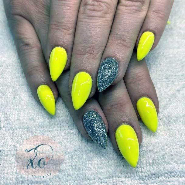 Almond Yellow Nails With Silver Accent For Women