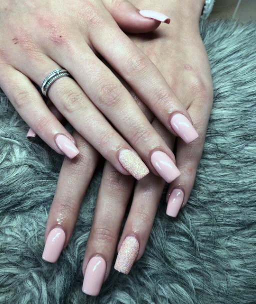 Almost Nude Coffin Shellac Nails For Women