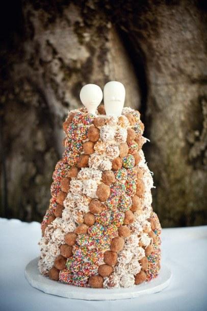 Alternating Colors Donut Wedding Cake
